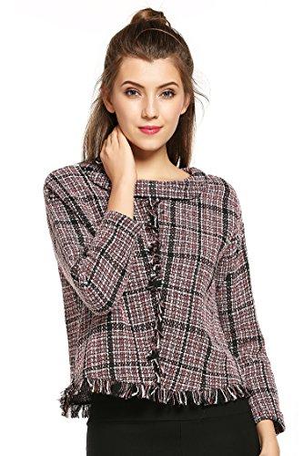 Donkap Women's Plaid Tassel Pullover Sweater Bl...