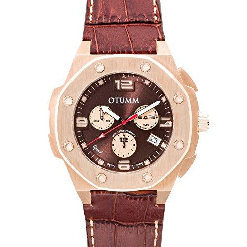 Otumm Speed Unisex Reloj 45mm Cronografo con Calendario con Correa de Piel LSPRG45-004: Amazon.es: Relojes