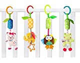 4 Packs Infant Baby Plush Adorable Animal Car Seat Hanging Rattle Toy Kids Stroller Crib Pram Ornament Bells Puppet with Wind Chime and Squeak