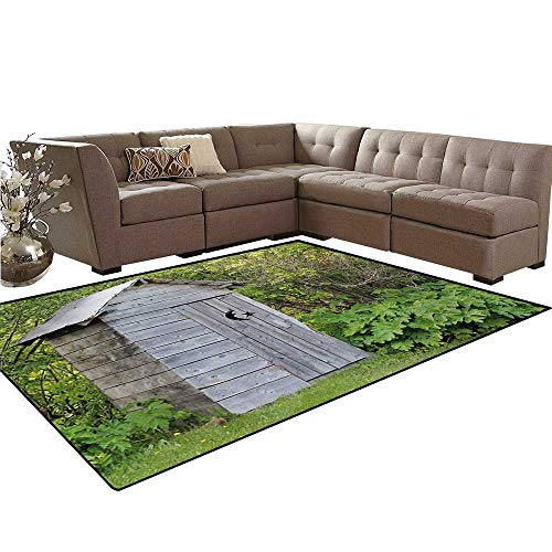 (Outhouse Door Mats for Inside Vintage Farm Life Cottage Barn Shed in Forest Trees Leaves Picture Bath Mat 5'x6' Pale Grey and Fern Green)