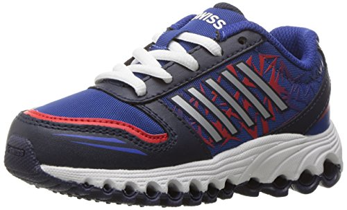 K-Swiss Boys' X-160 Sneaker, Navy/Classic Blue/Fiery Red, 5 M US Big Kid (Footwear Leather Navy Youth)