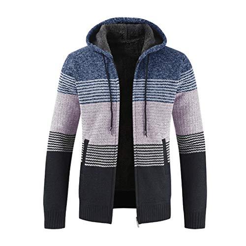 Cappotto Maniche Qinsling Tops Uomo Hoodie Sweatshirt Cappuccio Elegante Classico C Con Maglione Inverno Camicetta Blu Collo Dolcevita Felpa Cerniera Lunghe Distintivo 0S5UqTw