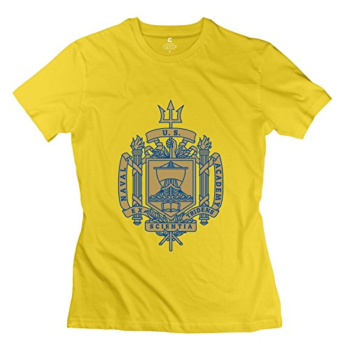 Yellow VAVD Women's United States Naval Academy 100% Cotton T Shirt Size XL