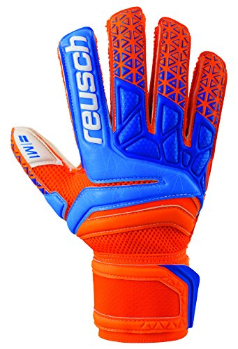 Reusch Soccer Prisma Prime M1 Finger Support Goalkeeper Gloves Orange/Blue, 11