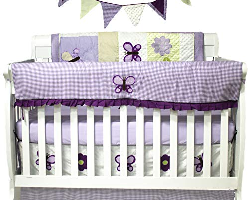 10 Piece Crib Bedding Set, Lavender Butterfly ()