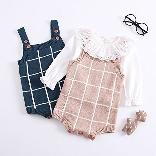 Pinleck Newborn Baby Girls Boys Knit Sweater Romper Strap Sleeveless Jumpsuit Hat Outfit