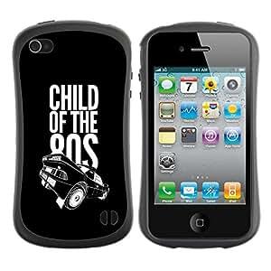 LASTONE PHONE CASE / Suave Silicona Caso Carcasa de Caucho Funda para Apple Iphone 4 / 4S / Child Of the 80s Eighties