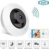 360 Degree VR Panoramic Wi-fi Camera,Fisheye IP Camera,2MP Full HD Wireless Home Security Surveillance Indoor Camera with POE,Night Vision,2-Way Audio,Motion Detection,Baby Nanny Pet Cam