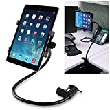 Insten Universal 26 inch Flexible Desk Table 360 Degree Rotating Stand Lazy Bed Desktop Tablet Holder Mount Clamp for iPad Galaxy Tab, Black
