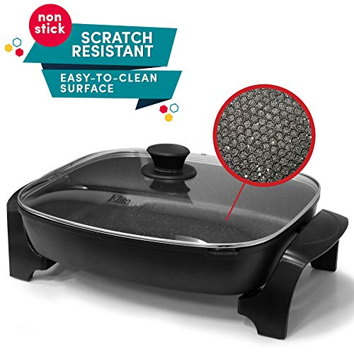 Elite Platinum EG-6203 Non-stick Deep Dish Heavy Duty Electric Skillet with Tempered Glass Vented Lid and Easy-Pour Spout, Dishwasher Safe, 1500W, 16' x 13' x 3.15' - 8 Quart, Black