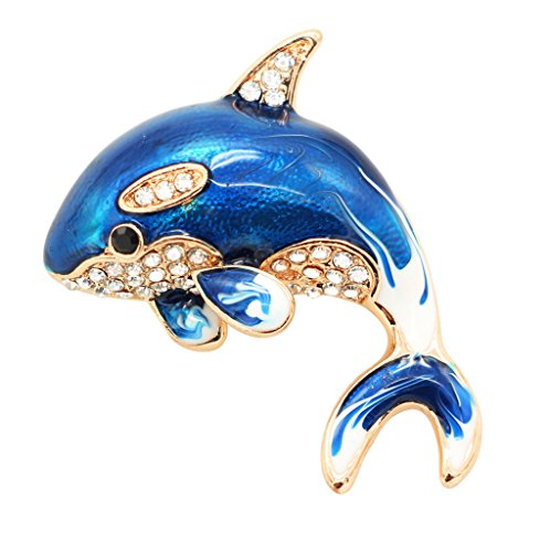 KristLand - Fashion Classical Enamel Whale Blue Fish Brooch Pin Pendant Gold Tone with Crystal Corsage