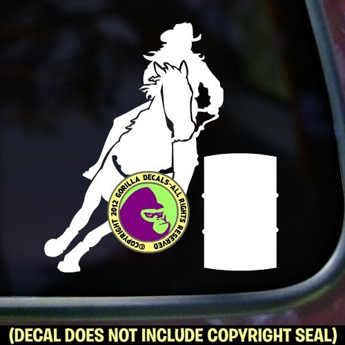 Barrel Racing Vinyl Decal Bumper Sticker Car Laptop Window Trailer Sign WHITE - Cowgirl Decal Sticker