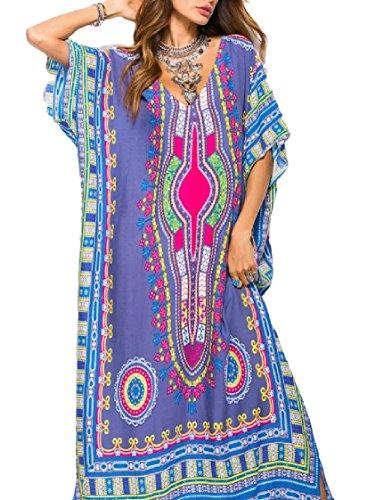 Coolred-femmes Baggy Coupe Ethnique Au-dessus De Taille Longue Robe V-cou Pattern5