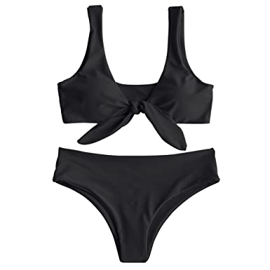 2a83d2c94c243 Amazon.com  ZAFUL Womens Solid Color Strap Padded Front Knot Bikini Set   Clothing