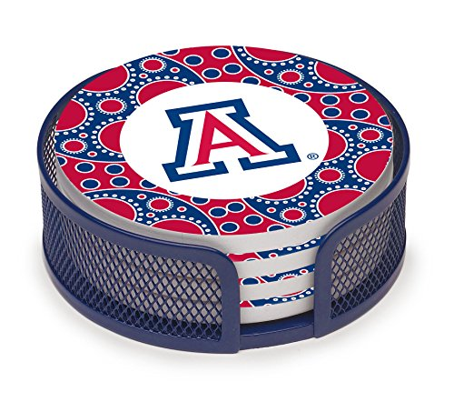 Thirstystone VUAZ3-HA23 Stoneware Drink Coaster Set with Holder, University of Arizona Circles