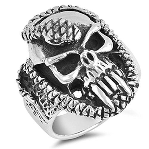 Fang Silver Ring (Evil Skull Snake Fang Biker Heavy Ring New .925 Sterling Silver Band Size 9)