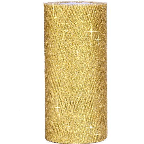 Outus 6 Inch Sparkling Tulle Ribbon Roll Glitter Tulle Roll Tulle Spool, 25 Yards, Gold -