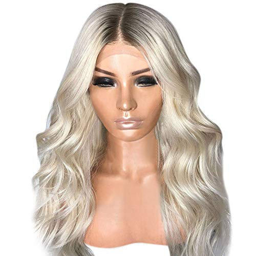 Jaromepower 25.6'' Sexy Gradient Blonde Mixing Wigs Long Curly Hair Synthetic Wig+Free Wig Cap,Blonde Lace Front Wig,Wigs for Women Human Hair,Best Synthetic Hair Wavy Wig with Flawless Hairline -