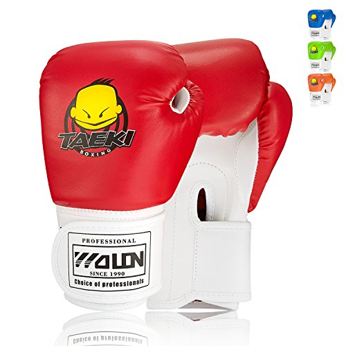 (SKL Kids Boxing Gloves 4oz Training Gloves for Children Cartoon Sparring Boxing Gloves Training Mitts Junior Punch PU Leather Age 5-12 Years Red)