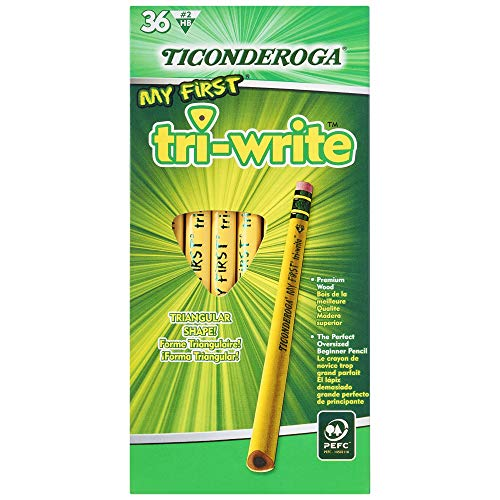 TICONDEROGA My First Tri-Write Pencils, Wood-Cased #2 HB Soft with Eraser, Yellow, 36-Pack (13082)