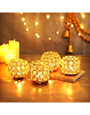 TIED RIBBONS Crystal Tealight Candle Holder for Home Décor - for Formal Events,Wedding,Church,Holiday Halloween Candle Holder Stand Centerpiece Elegant Decoration Piece for Table (Set of 4)