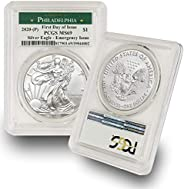 2020 Philadelphia Mint (P) Silver American Eagle MS-69 (First Day of Issue - Emergency Production) Green Label