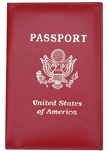 Genuine Leather Red Passport Cover Holder Case Wallet Travel