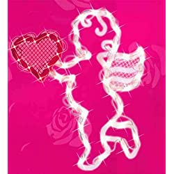 "17"" Lighted Valentine's Day Cupid Heart Window Silhouette Decoration (MULTI, 1)"