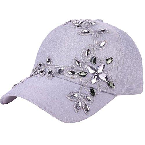 Bling Rhinestone Lace Flower Baseball Hats for Women Girls, Iuhan Lady Cap Sequins Bling Rhinestone Lace Flower Fashion Baseball Hat Golf Sun Hats Adjustable (White)
