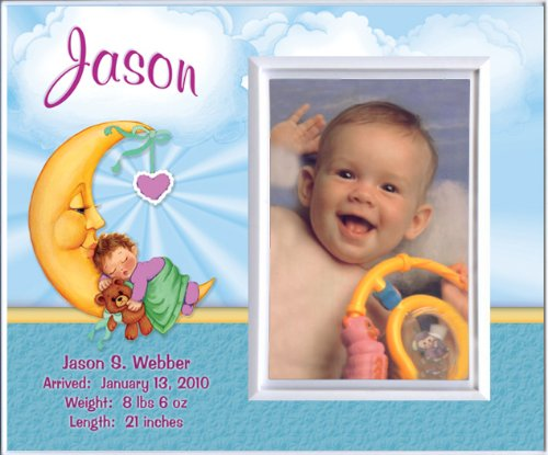 New Baby Boy Moon Personalized Birth Announcement Keepsake Picture Frame Gift from TooCute! Announcements