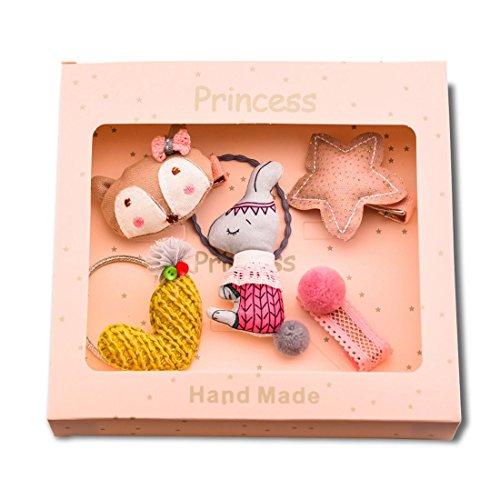 TOOGOO Pink 1 set of 5pcs fabric cartoon fox rabbit stars peach heart hair children hair clip combination set gift box hair jewelry headdress holiday gift birthday gift from TOOGOO