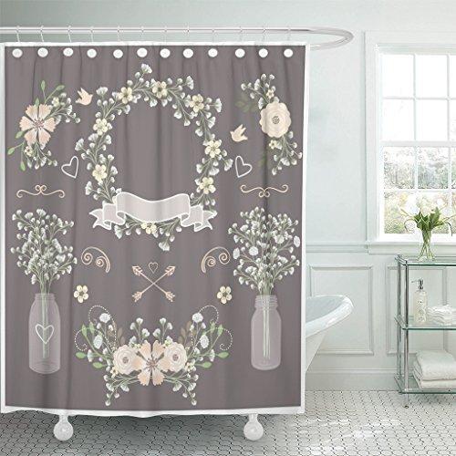 TOMPOP Shower Curtain Green Wreath Baby Breath Mason Jar Flo