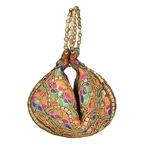 Bangle Potli Bag/Wristlet/Hand Bag with Brocade Beads (Multicolored Designed-1)