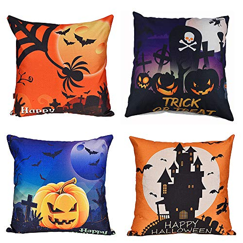 Antner 4 Pack Happy Halloween Throw Pillow Case Square Cushion Cover Bat Pumpkin Witch Spider, 18 X 18 Inch -