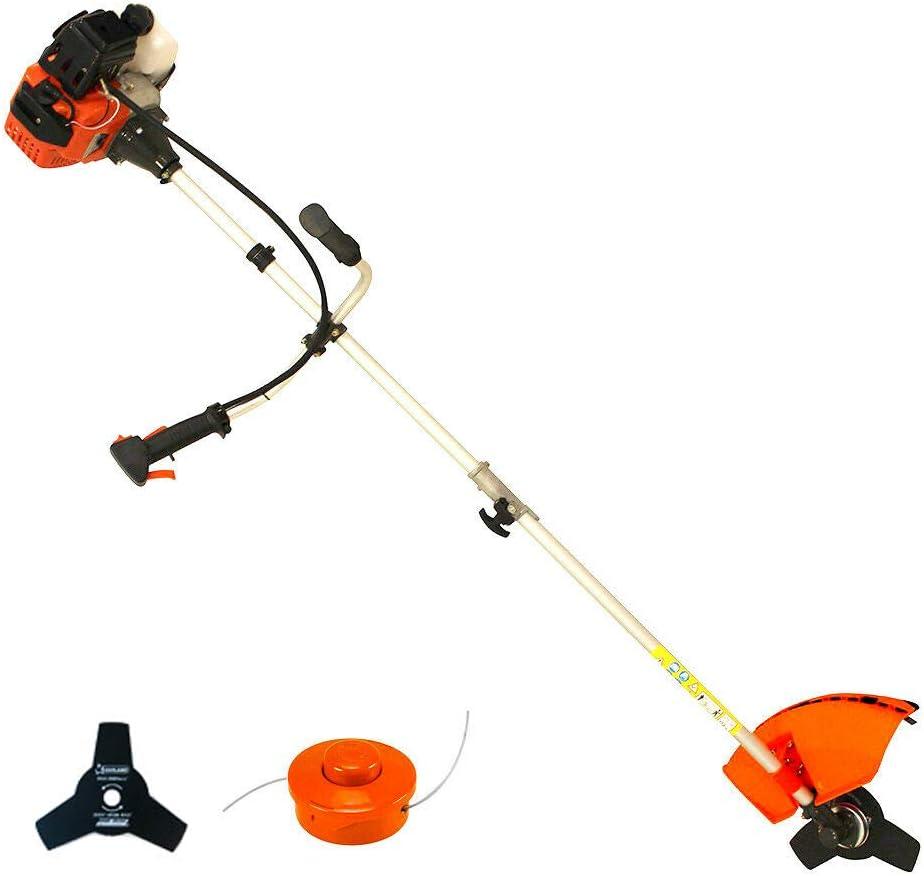 Desbrozadora gasolina barra divisible cortador de cesped 43cc 2,41cv accesorios (Naranja)