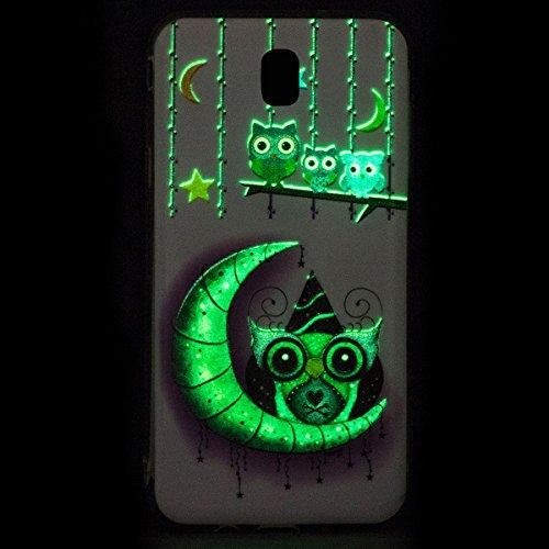 Funda Samsung J7 2017, CaseLover Carcasa Noctilucent Luminous TPU Silicona para Samsung Galaxy J7 2017 J720 Ultra Delgado Suave Fluorescente Efecto Verde Brillo Nocturno En la Oscuridad Protectora Cas Pájaro de dibujos animados