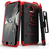 Zizo Bolt Series Compatible with Motorola Moto Z Case Military Grade Drop Tested with Tempered Glass Screen Protector, Holster Black RED