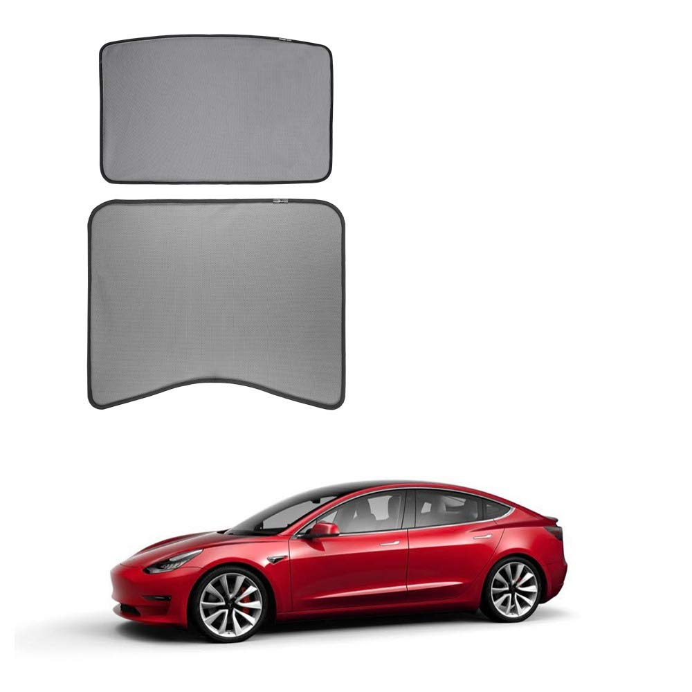 Tesla Model 3 Glass Roof Mesh Sunshade/Overhead Roof Sunshade Auto Sunshade, Custom-Fit Roof Window Sunshades Compatible Tesla Model for Tesla 3 (2 of Set) (2 of Set, Black)