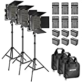 Neewer Bi-color LED Video Light and Stand Kit with Battery and Charger-660 LED with U Bracket and Barndoor(3200-5600K,CRI 96+), 3-6.5 feet Adjustable Light Stand for Studio, YouTube Shooting (3 Pack)