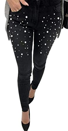 92f819eabf2 WAWAYA Women Mid Waisted Slim Fit Stretch Casual Nail Beads Jeans Denim  Pencil Pants Black XS