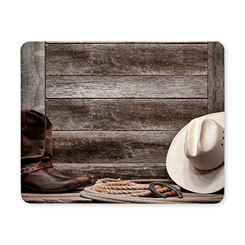 InterestPrint Cowboy Hat Western Lariat Lasso and Roper Leather Boots Rectangle Non Slip Rubber Comfortable Computer Mouse Pad Gaming Mousepad Mat with Designs for Office Home Woman Man Employee Boss ()