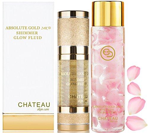 - Absolute Gold 24K ROSE PETAL FACIAL TONER - 24K SHIMMER GLOW FLUID ( pack 2). 24 KARAT GOLD / COLLAGEN / HYALURONIC ACID. For all skin types.