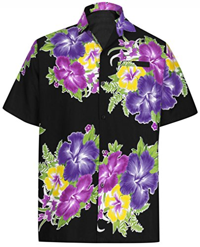 Island Aloha Shirt - LA LEELA Likre Soft Silk Printed Shirt Violet 166 2XL |Chest 54