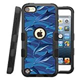 jelly ipod 5 case - iPod touch 5th / 6th Case, CASECREATOR[TM] For Apple iPod touch 5th / 6th generation () -- NATURAL TUFF Hybrid Rubber Hard Snap-on Case Black Black-Blue Dolphins