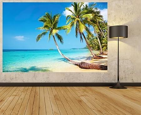 Adhesive Wall Murals Tropical Palm Tree Wallpaper Beach Scene Photo