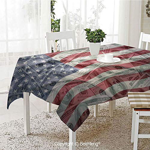 BeeMeng Large dustproof Waterproof Tablecloth,Family Table Decoration,American Flag Decor,American Dollar on Flag Money Currency Exchange Value Global Finance Idol,Multi,70 x 104 inches