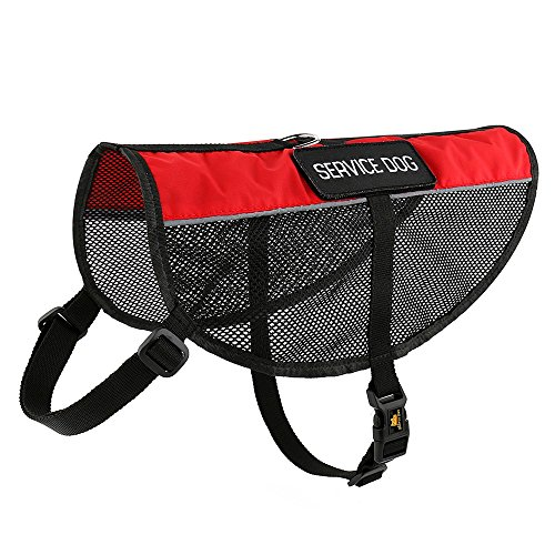 (PLUTUS PET Service Dog Vest with Reflective Straps, Lightweight Cool Red Mesh Harness with 2 Free Removable Service Dog Patches,XXS Girth 11-14