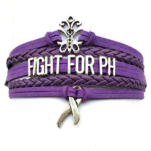 DOLON Purple Fight For PH Pulmonary Hypertension Bracelet Awareness Ribbon Charm