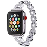 Moretek Band for Apple Watch Series 1 & 2 & 3 38MM All Edition - Women Stainless Steel Crystal Diamond Replacement Bracelet Accessories Bands (Silver 38MM)