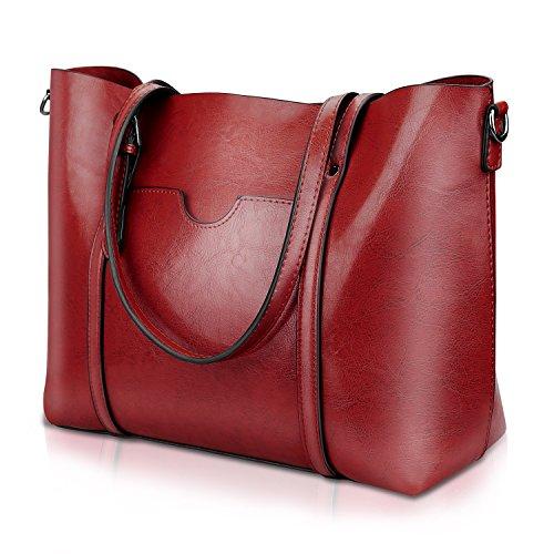 Red Leather Shoulder Bag (Women Top Handle Satchel Handbags Shoulder Bag Tote Purse Greased Leather Iukio)